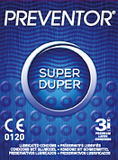Preventor Super Duper, a textured lubricated condom with anatomic shape.