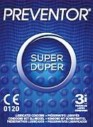 Preventor Super Duper, een getextureerd condoom met een anatomische vormgeving.