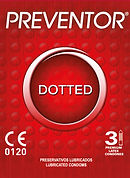 Preventor Dotted, a textured lubricated condom with dots over the surface.