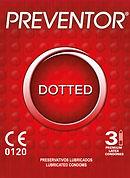 Preventor Dotted, een getextureerd (nopjes) condoom met glijmiddel en met reservoir.