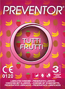 Preventor Tutti Frutti, a ultra thin lubricated condom with 3 different fruity fragrances.