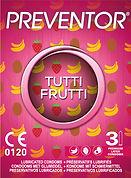 Preventor Tutti Frutti, een extradun condoom geparfumeerd met 3 fruitaroma's.