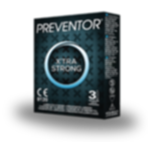 Preventor X'tra Strong, a thicker lubricated condom with reservoir end.