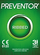 Preventor Ribbed, a textured lubricated condom with ribs over the surface.