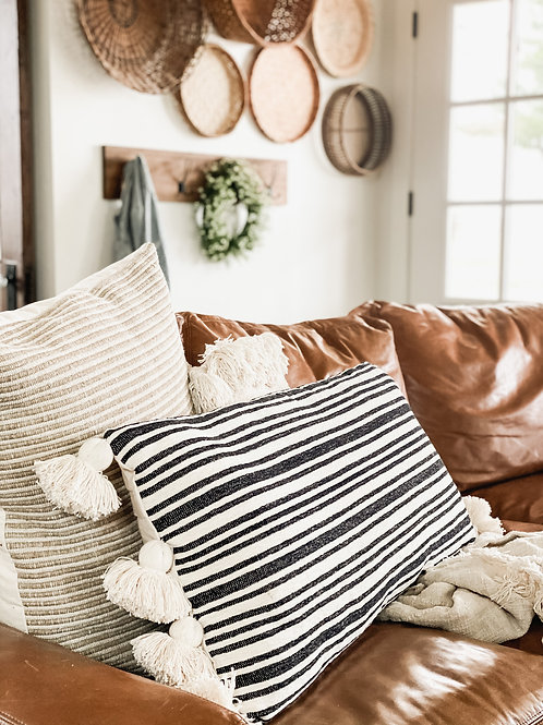 Black Striped Lumbar Pillow