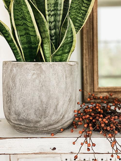 Gray Wood Pot