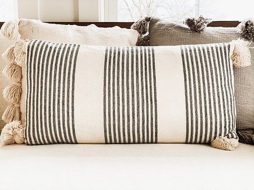 Grey & White Striped Lumbar