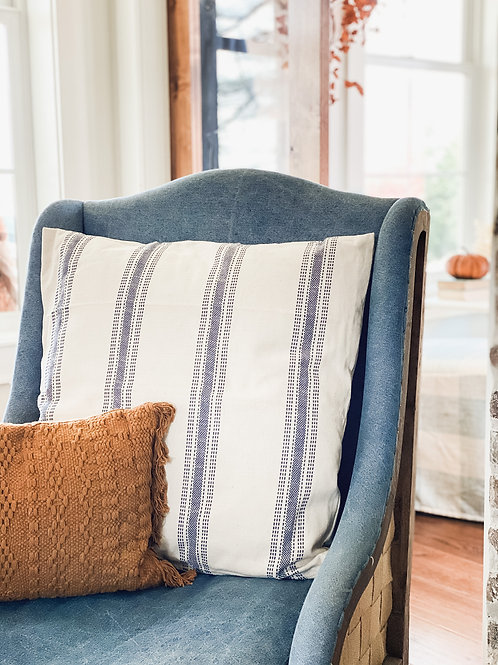 Blue & Cream Striped Pillow