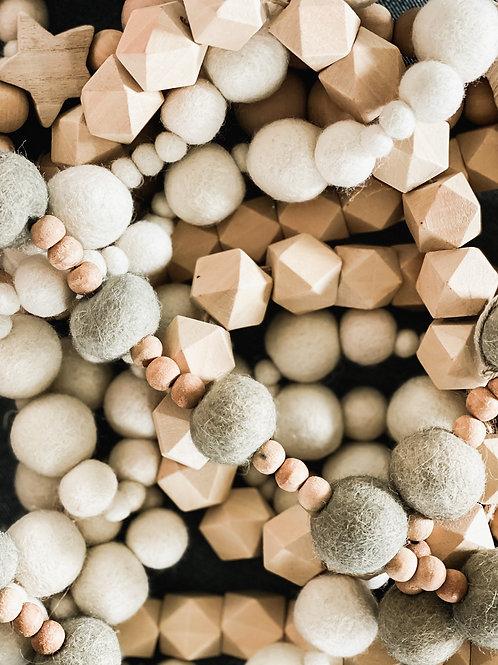 Wood & Wool Bead Garland