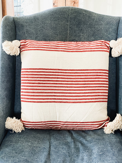 Red & White Striped Pillow