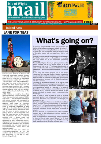 JANE FOR TEA  / ISLAND ARTS / ISLE OF WIGHT MAIL (The Island's community Newspaper)