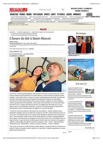 ARTICLE SUR L'ALBUM JANE FOR TEA PAR ANNIE HENNEQUIN / DEPECHE DU MIDI 8 AOUT 2014