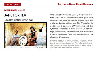 CONCERT JANE FOR TEA CENTRE CULTUREL HENRI DESBALS 5 MAI 2015
