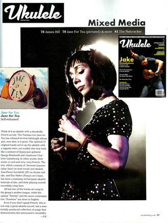 REVIEW ALBUM JANE FOR TEA ON UKULELE MAGAZINE (USA) WINTER 2014