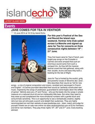 ISLAND ECHO : JANE COMES FOR TEA IN VENTNOR (ISLE OF WIGHT)