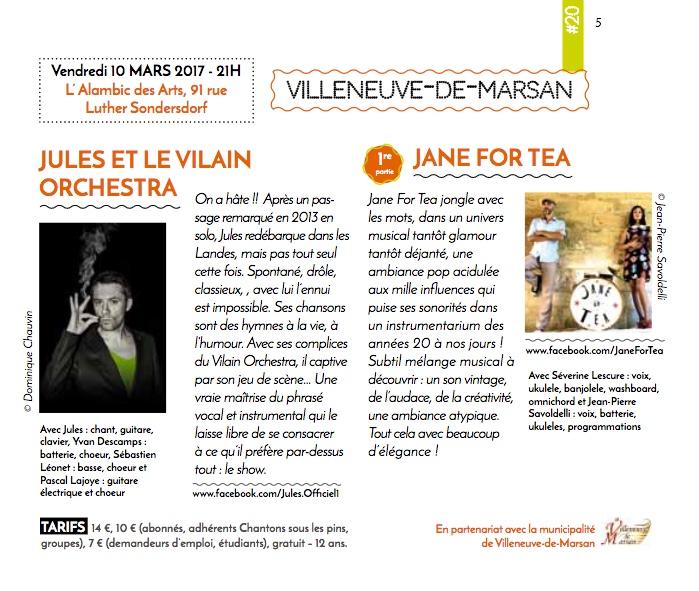 JANE FOR TEA + JULES ET LE V.O 10 MARS 2017 CHANTONS SOUS LES PINS