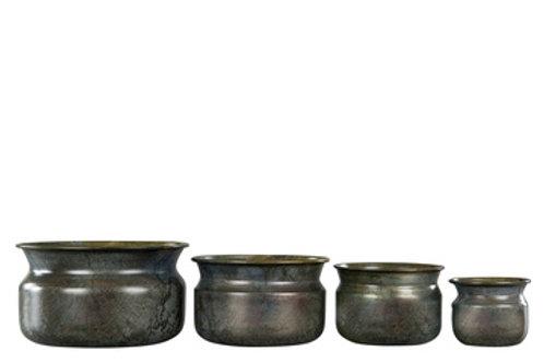 Blomsterkrukker i fargen brun onyx 4 potter pr sett