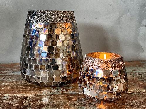 Lysglass mosaikk med perler - liten 9 cm