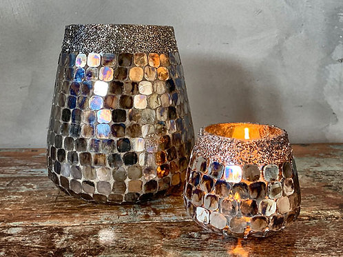 Lysglass mosaikk med perler - stor 16 cm