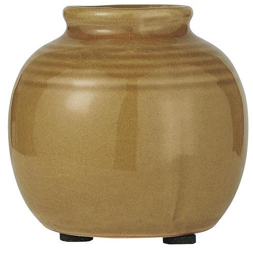 Vase med riller krakilert glasur - gul