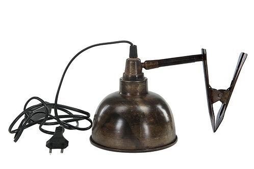 Lampe med clips i brun antikk 15x15cm