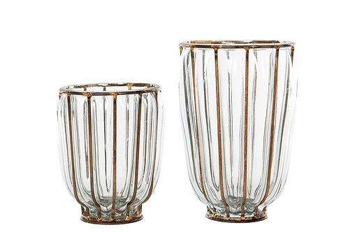 Glassvase/lykt i metallholder i rustfarge. Stor
