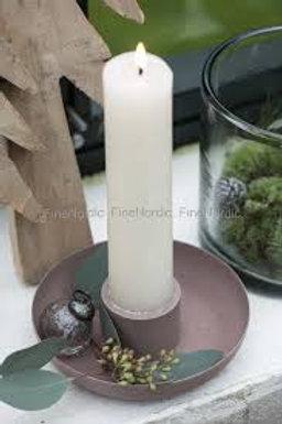 Lysestake til kirkelys/rustikklys i malva/milky brown