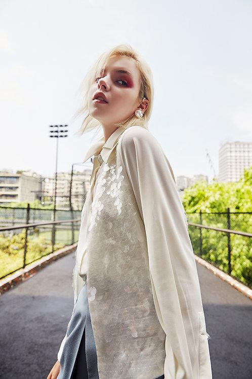 Short white paillette waistcoat
