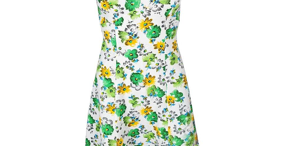Robe fleurie verte et jaune
