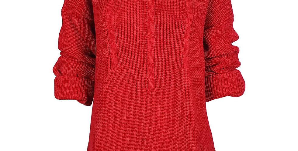 Pull rouge oversize torsadé