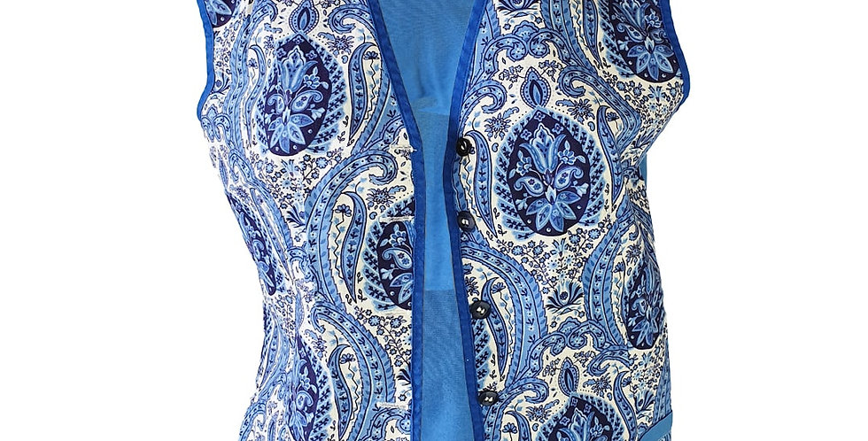 Gilet d'homme provençal bleu