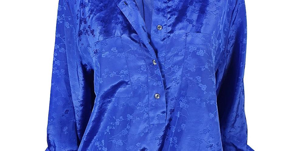 Chemise bleue fleurie bouffante