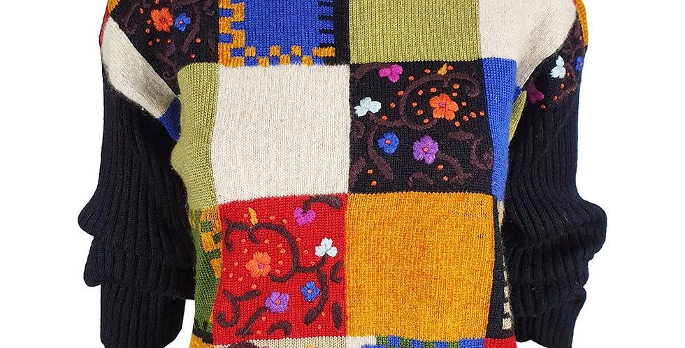 Pull patchwork noir et couleurs