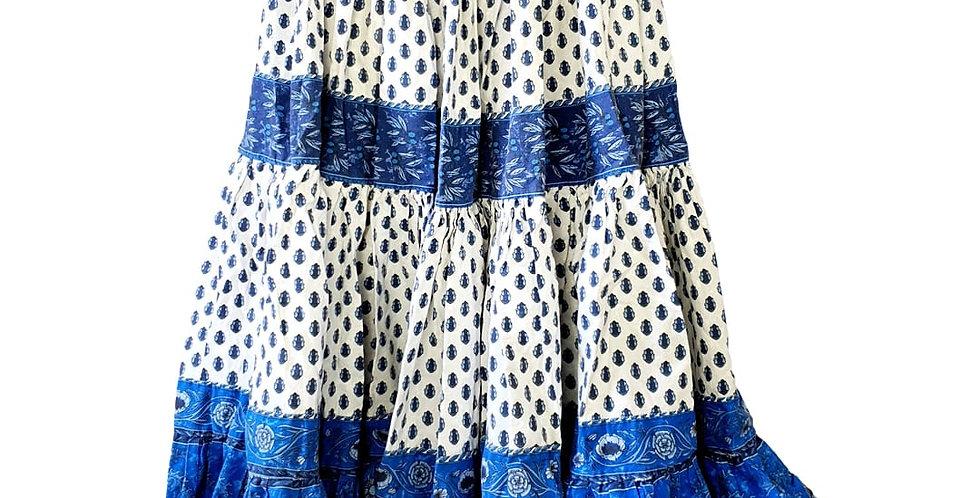 Jupe provençale bleue et blanche