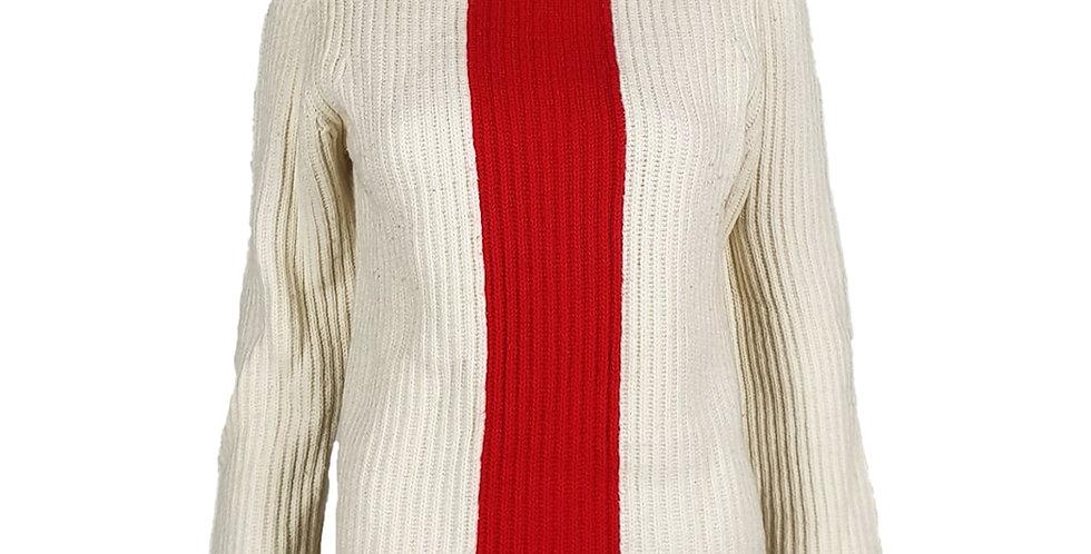 Pull blanc bande rouge