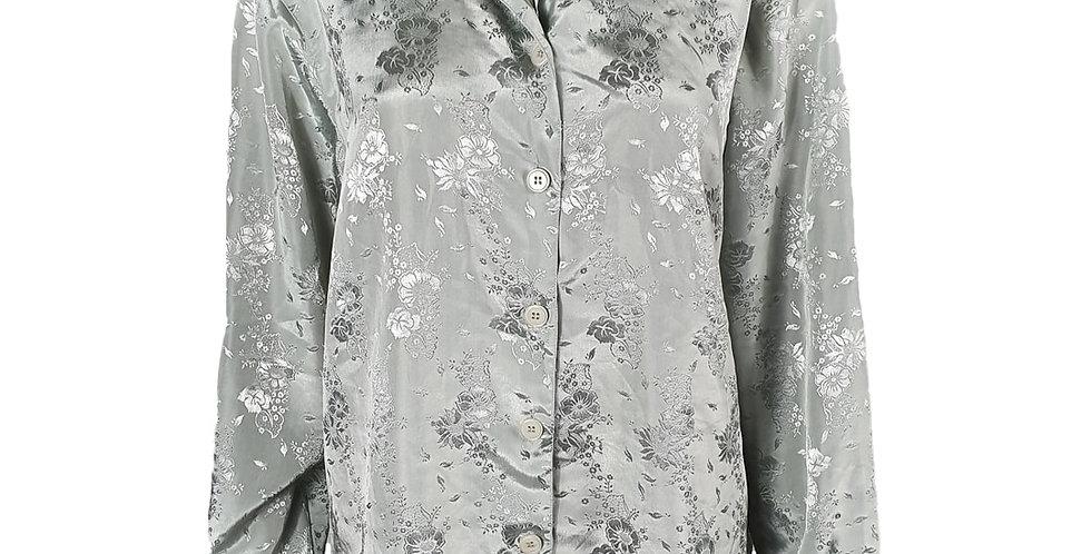 Chemise grise reflets floraux