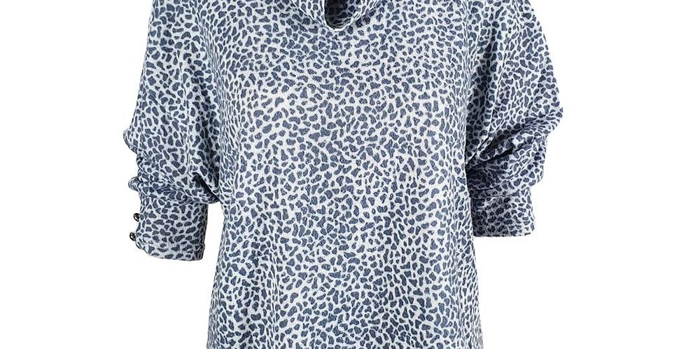 Pull gris / bleu motif léopard