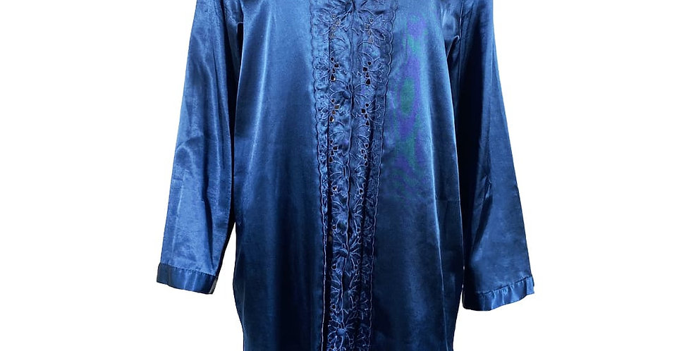 Robe chemise satiné bleu marine