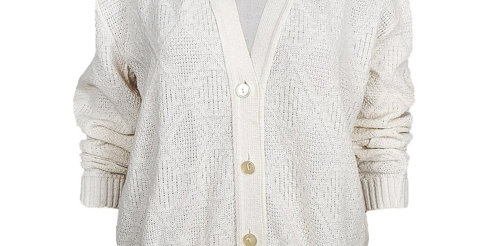 Cardigan blanc cassé tricot géométrique