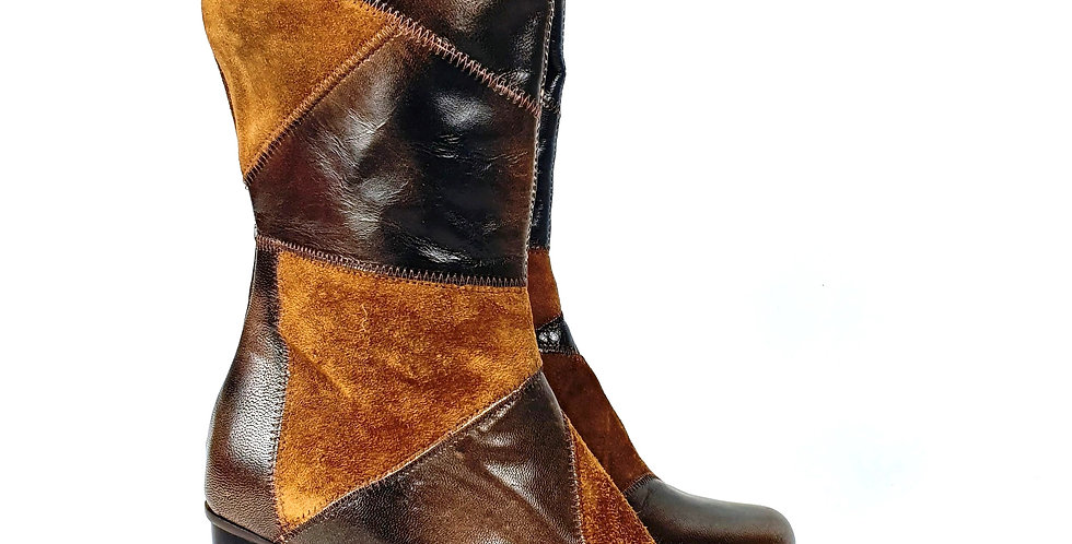 Bottines en cuir patchwork San Marina