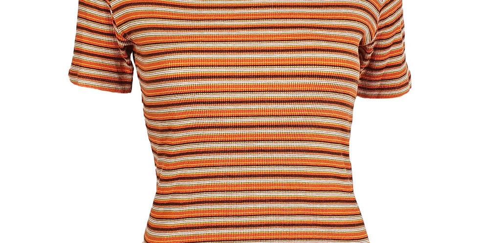 Tee-shirt cotelé et rayé seventies