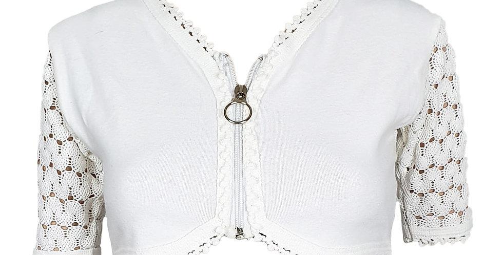 Tee-shirt crop top blanc manches tricot