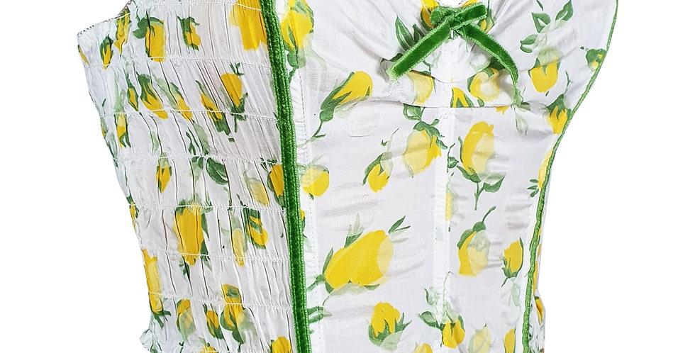 Bustier roses jaunes et velours vert