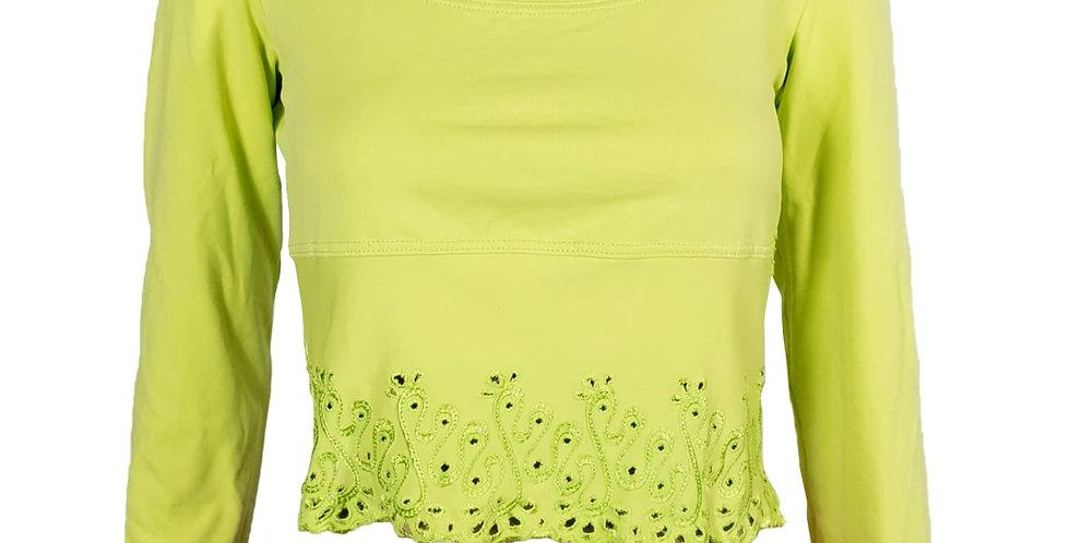 Tee-shirt crop top ajouré vert anis