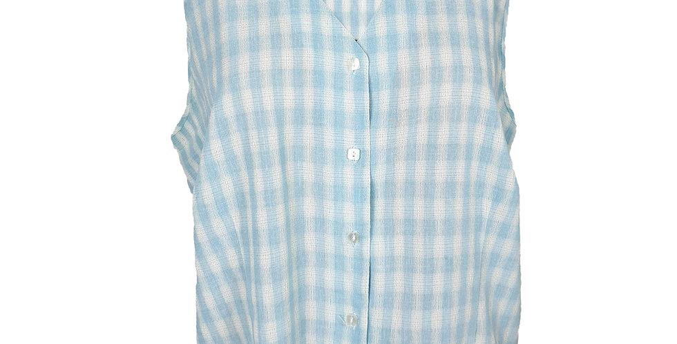 Chemise sans manches vichy bleu