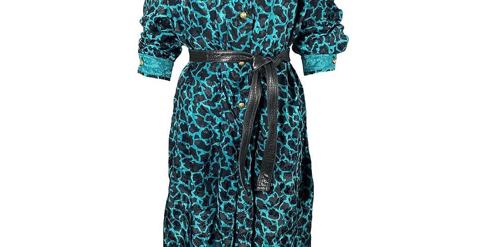 Robe turquoise/noire léopard 80's