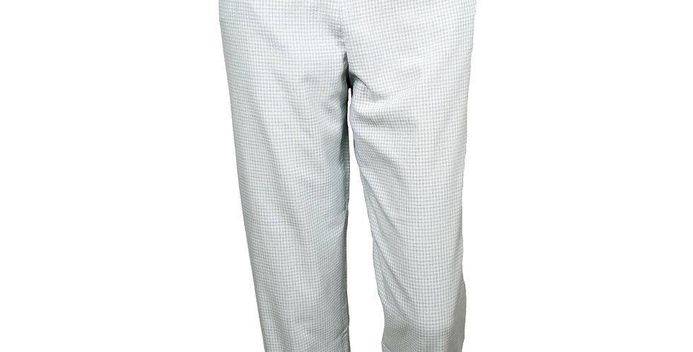 Pantalon taille haute vichy bleu clair