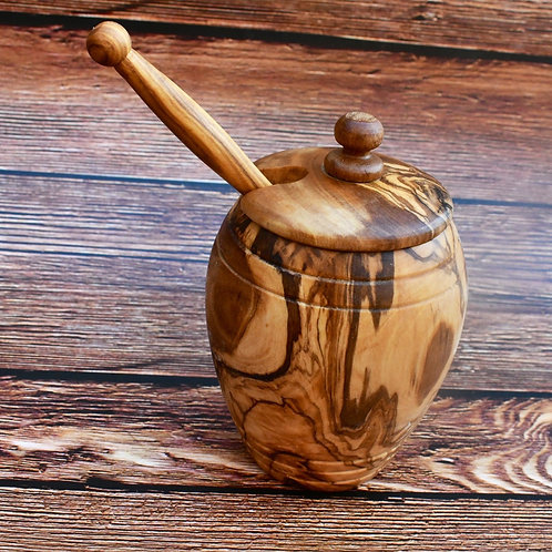 Olive Wood honey pot jar bowl with Honey dipper spoon / Wedding Gift
