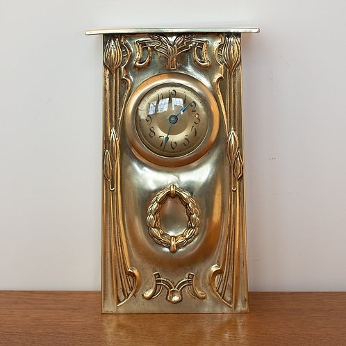 Large Art Nouveau/Arts and Crafts Secessionist Brass Mantel Clock