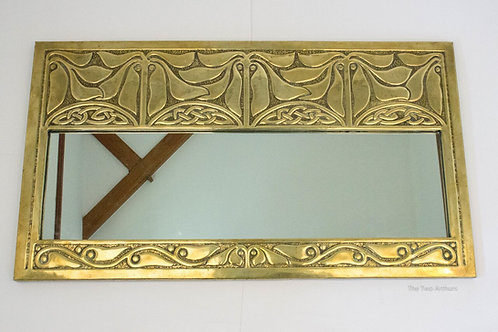 Alexander Ritchie Iona Antique Arts and Crafts Glasgow Style Brass Wall Mirror,
